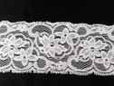 White / Black Stretch Floral Scalloped Lace Trim 2 1/4 S5-1