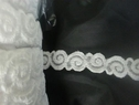 White stretch embossed shiny lace trim 1 inch S2-1