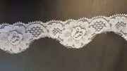 White Stretch Eyelash Double Scalloped Lace Trim 1.5 Inch