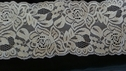 White Stretch lace double scalloped rose flower  trim 3  1/2 inch S3-6