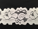 White stretch lace double scaloped trim 1 1/2 inch wide S7-1