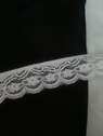 white stretch scalloped floral lace trim 1  3/8 inch S2-7