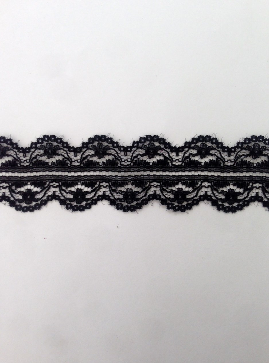 White Black Double Scalloped Poly Lace Trim 1 1 4 In L8 2a