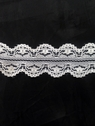 Wholesale White / Black Double  Scalloped Poly Lace Trim 1 1/4 in L8-2a
