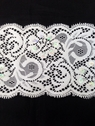 White Sequin Floral Stretch Lace Trim 3 1/2 inch