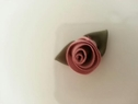 wholesale 12 pieces dark dusty rose swirl satin flower applique 1 1/8 with green leaf
