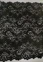 Wide black stretch double scalloped nice lace trim  fabric 12 inch wide s5-5