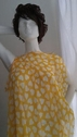 Yellow White Heart Chiffon Fabric 58 inch