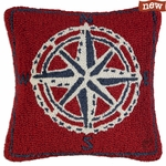 Compass Rose Hooked Wool Pillow