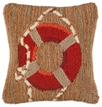 Red Life ring Hooked Wool Pillow