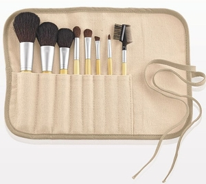 TBC Eco-Friendly 8-Piece Natural Hair Makeup Brush Set w Hemp/Cotton Pouch
