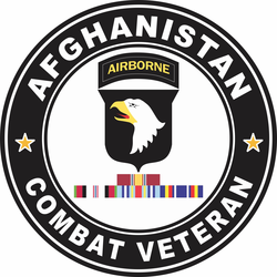 101st Airborne Division Afghanistan with GWOT Ribbons Combat Veteran Decal