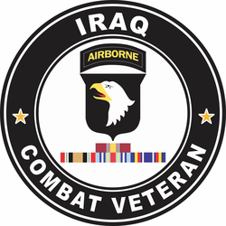 101st Airborne Division Iraq with GWOT Ribbons Combat Veteran Decal