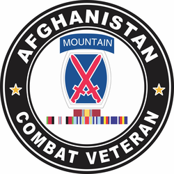 10th Mountain Division Afghanistan with GWOT Ribbons Combat Veteran Decal