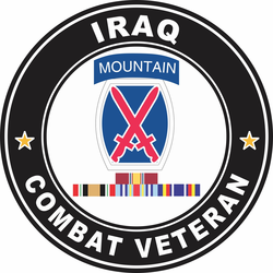 10th Mountain Division Iraq with GWOT Ribbons Combat Veteran Decal