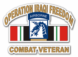 18th Airborne Corps Iraq Combat Veteran with Ribbons Die-Cut Vinyl Decal Sticker