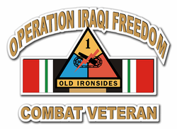 "1st Armor Division Iraq Combat Veteran 10"" Die-Cut Vinyl Decal Sticker"
