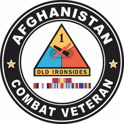 1st Armored Division Afghanistan with GWOT Ribbons Combat Veteran Decal