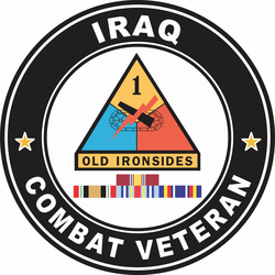 1st Armored Division Iraq with GWOT Ribbons Combat Veteran Decal