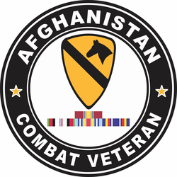 1st Cavalry Division Afghanistan with GWOT Ribbons Combat Veteran Decal