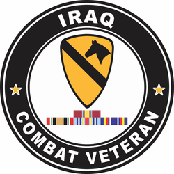 1st Cavalry Division Iraq with GWOT Ribbons Combat Veteran Decal