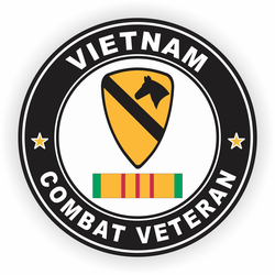 1st Cavalry Division Vietnam Combat Veteran with Ribbon Decal