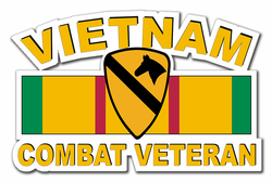 "1st Cavalry Divison Vietnam Combat Veteran with Ribbon 3.8"" Die-Cut Vinyl Decal Sticker"