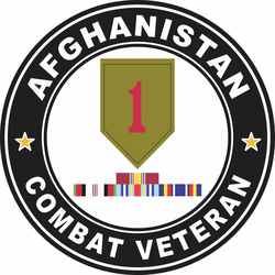 1st Infantry Division Afghanistan with GWOT Ribbons Combat Veteran Decal