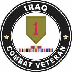 1st Infantry Division Iraq with GWOT Ribbons Combat Veteran Decal
