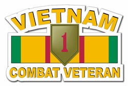 "1st Infantry Division Vietnam Combat Veteran with Ribbon 11.75"" Die-Cut Vinyl Decal Sticker"
