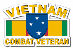 "23rd Infantry ( Americal ) Division Vietnam Combat Veteran with Ribbon 3.8"" Die-Cut Vinyl Decal Sticker"
