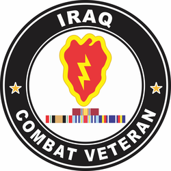 25th Infantry Division Iraq with GWOT Ribbons Combat Veteran Decal