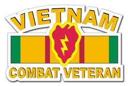 "25th Infantry Division Vietnam Combat Veteran with Ribbon 3.8"" Die-Cut Vinyl Decal Sticker"
