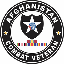 2nd Infantry Division Afghanistan with GWOT Ribbons Combat Veteran Decal