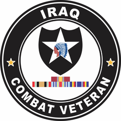 2nd Infantry Division Iraq with GWOT Ribbons Combat Veteran Decal