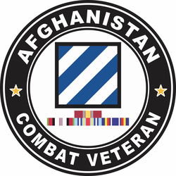 3rd Infantry Division Afghanistan with GWOT Ribbons Combat Veteran Decal