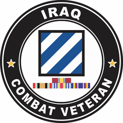 3rd Infantry Division Iraq with GWOT Ribbons Combat Veteran Decal