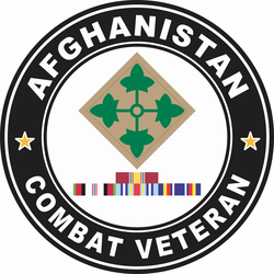 4th Infantry Division Afghanistan with GWOT Ribbons Combat Veteran Decal