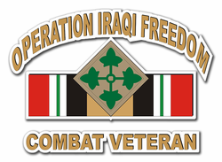 "4th infantry Division Iraq Combat Veteran 3.8"" Die-Cut Vinyl Decal Sticker"