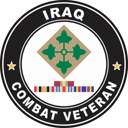 4th Infantry Division Iraq with GWOT Ribbons Combat Veteran Decal