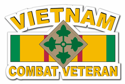 "4th Infantry Division Vietnam Combat Veteran with Ribbon 11.75"" Die-Cut Vinyl Decal Sticker"