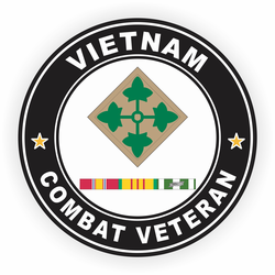 4th Infantry Division Vietnam Combat Veteran with Ribbons Decal