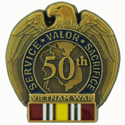 50th Anniversary Vietnam War Lapel Pin with National Defense Ribbon (1 1/4 inch)