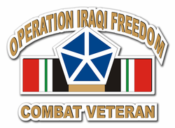 "5th Corps Iraq Combat Veteran with Ribbon 8"" Die-Cut Vinyl Decal Sticker"