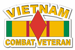 "5th Infantry Division Vietnam Combat Veteran with Ribbon 3.8"" Die-Cut Vinyl Decal Sticker"