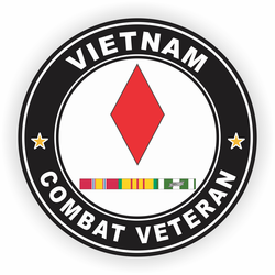 5th Infantry Division Vietnam Combat Veteran with Ribbons Decal