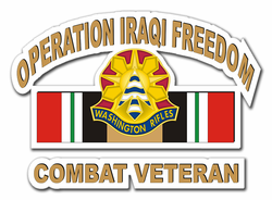 "81st Brigade Iraq Combat Veteran with Ribbon 5.5"" Die-Cut Vinyl Decal Sticker"