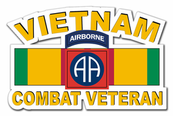 "82nd Airborne Division Vietnam Combat Veteran with Ribbon 11.75"" Die-Cut Vinyl Decal Sticker"