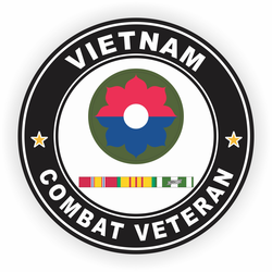 9th Infantry Division Vietnam Combat Veteran with Ribbons Decal