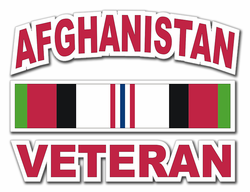 "Afghanistan Veteran with Ribbon 3.8"" Die-Cut Vinyl Decal Sticker"